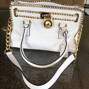 Michael Kors Hamilton North/South White/Gold